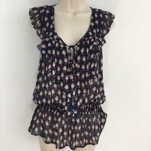 Daniel Rainn ruffle front sheer bird print blouse